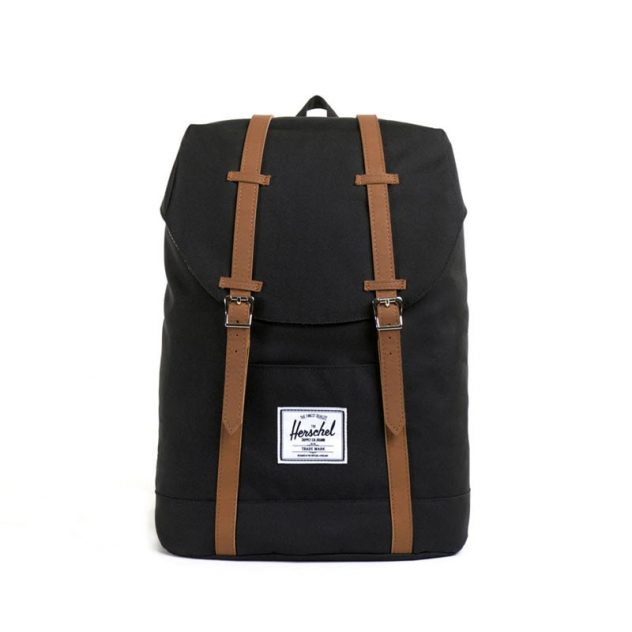 herschel rugzakken retreat black tan bruxelles