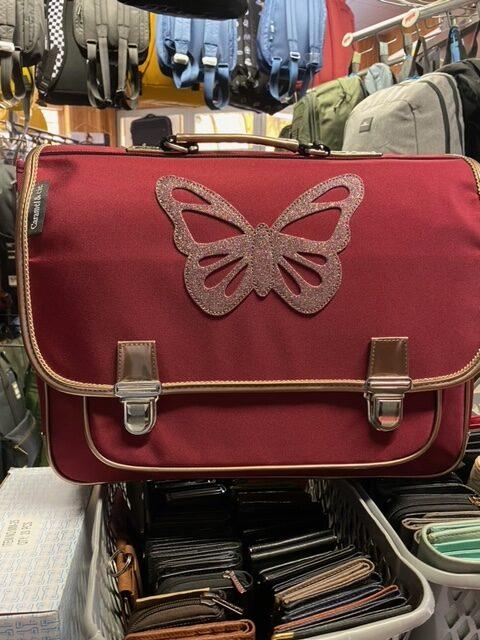 grand cartable papillon rouge caramel et cie